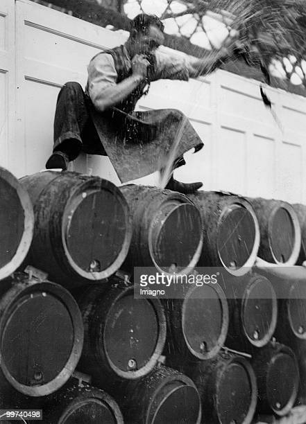 Tapping of beer barrels for brewery show in the London Agricultural Hall London Photograph Around 1930 Photo by Austrian Archives