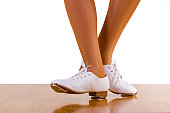 Tap-Top/Clog dance front and side steps; close up, on white