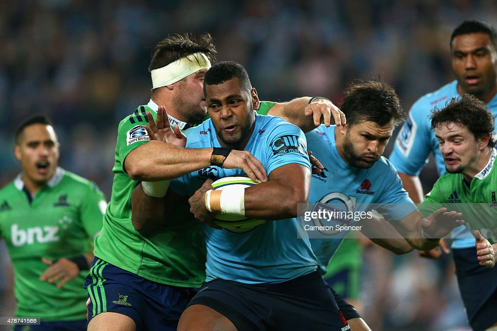 Taqele Naiyaravoro of the Waratahs is tackled during the Super Rugby Semi Final match between the Waratahs and the Highlanders at Allianz Stadium on June 27, 2015 in Sydney, Australia.
