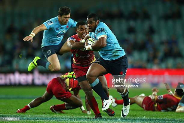 Taqele Naiyaravoro of the Waratahs makes a break during the round 18 Super Rugby match between the Waratahs and the Reds at Allianz Stadium on June...