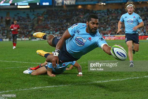 Taqele Naiyaravoro of the Waratahs scores a try during the round 15 Super Rugby match between the Waratahs and the Crusaders at ANZ Stadium on May 23...