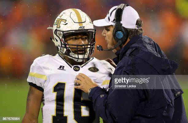 TaQuon Marshall talks to his head coach Paul Johnson of the Georgia Tech Yellow Jackets during their game against the Clemson Tigers at Memorial...