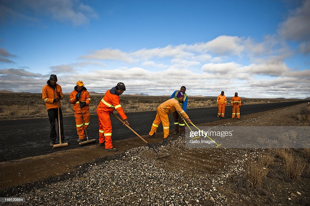 A tar road is laid between Vosburg and Carnarvon on July 20, 2012 in the Northern Cape, South Africa. Carnarvon, which has a population of 6000, is the home of the KAT-7 telescope and will host the Square Kilometre Array radio telescope. Due to these developments the town's economy is growing.