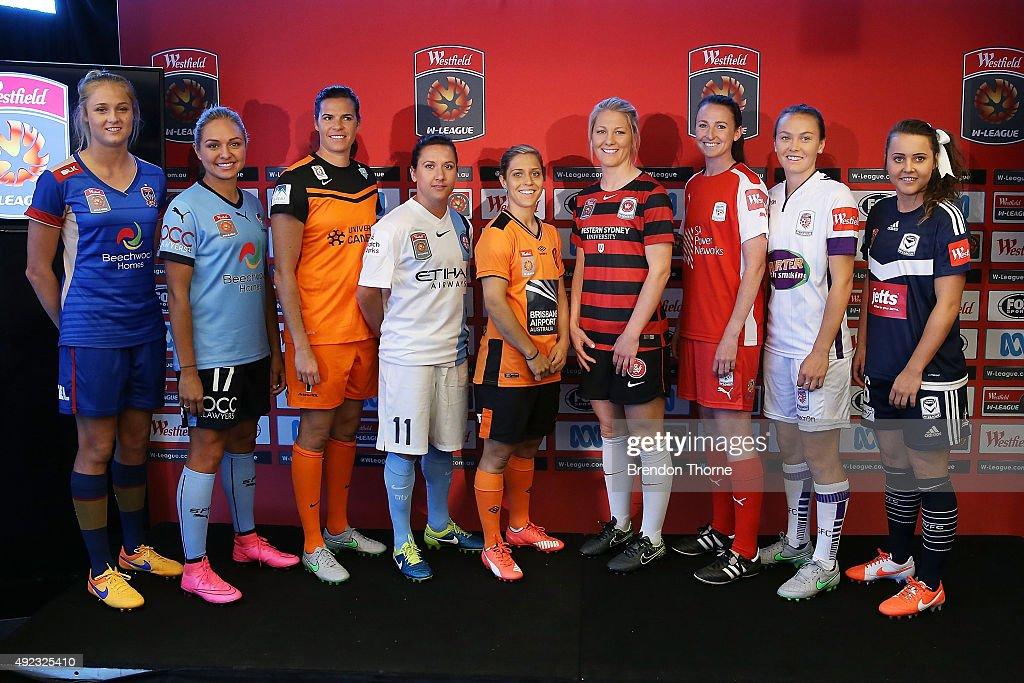 Tara Andrews of Newcastle Jets Kyah Simon of Sydney FC Lydia Williams of Canberra Lisa De Vanna of Melbourne City Katrina Gorry of Brisbane Roar...