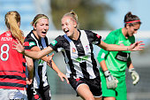 Tara Andrews of the Jets celebrates scoring a goal during the round six WLeague match between the Western Sydney Wanderers and the Newcastle Jets at...