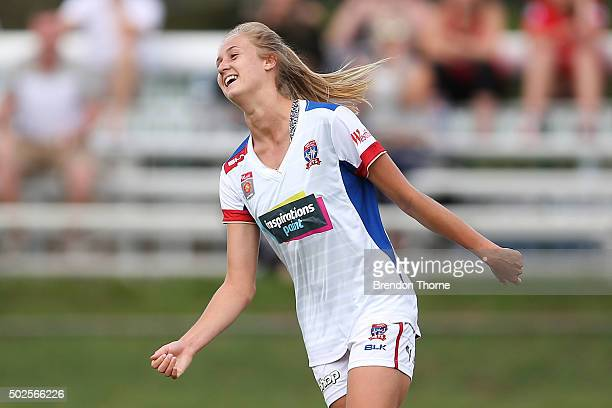 Tara Andrews of the Jets celebrates scoring a goal during the round 11 WLeague match between the Western Sydney Wanderers and Newcastle Jets at...