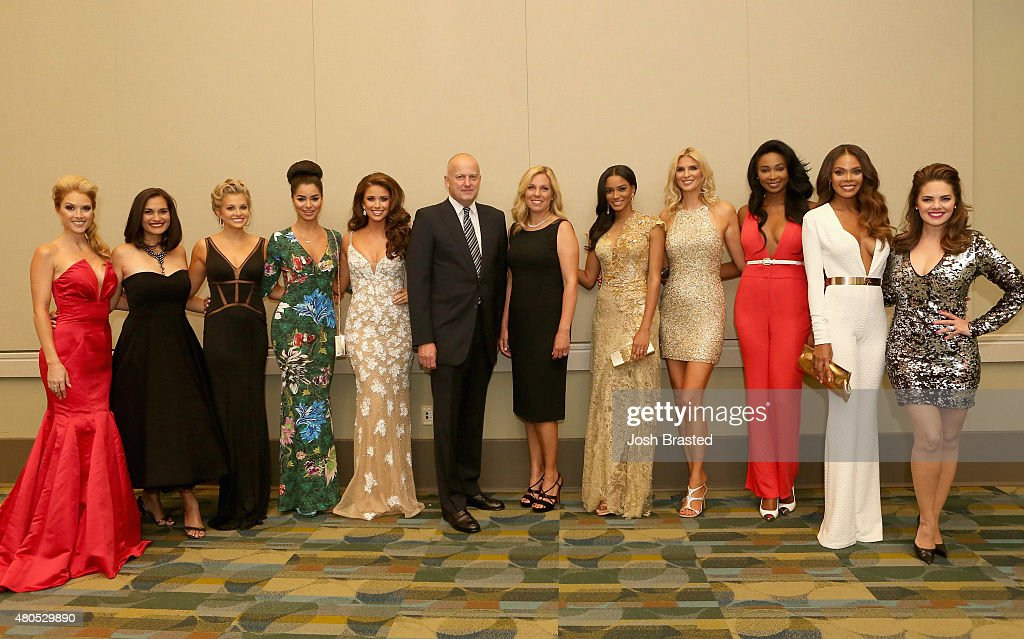 Tara Conner, Brook Lee, Danielle Doty, Rima Fakih, Nia Sanchez, REELZ Channel CEO Stan E. Hubbard, Jennifer Hubbard, Leila Umenyiora, Michelle McLean-Bailey, Nana Meriwether, Crystle Stewart, and Kimberly Pressler pose during the 2015 Miss USA Pageant Only On ReelzChannel Press Conference at The Baton Rouge River Center on July 12, 2015 in Baton Rouge, Louisiana.