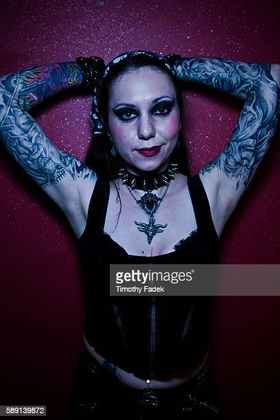 Tara displays her tattoos at the 12th Annual New York City Tattoo Convention at Roseland Ballroom in Manhattan