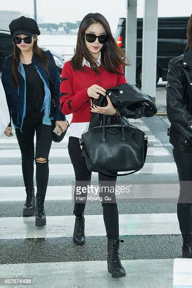 Tara is seen on departure at Incheon International Airport on October 21 2014 in Incheon South Korea