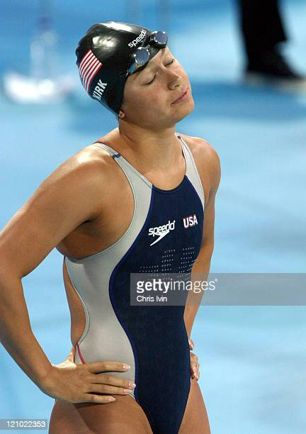 Tara Kirk of the United States concentrating before swimming in the Womens 100m Breastroke Final during the Athens 2004 Olympics Games at the Olympic...
