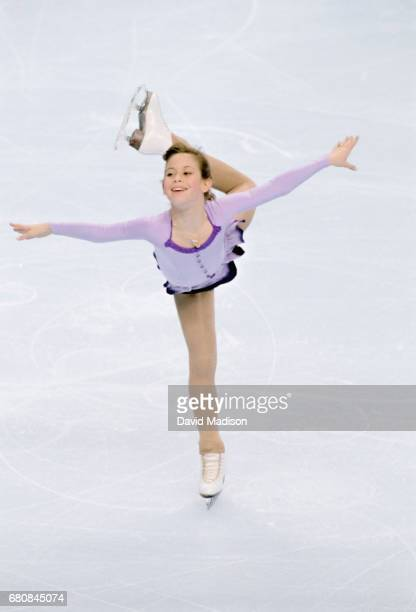 Tara Lipinski of the USA skates her Short Program of the Ladies' Singles competition of the 1996 United States Figure Skating Championships on...