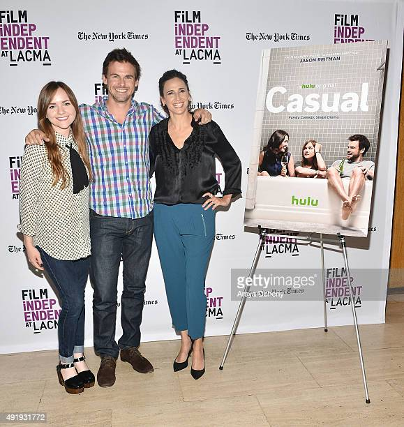 Tara Lynne Barr Tommy Dewey and Michaela Watkins attend the Film Independent at LACMA screening and QA of 'Casual' at Bing Theatre At LACMA on...