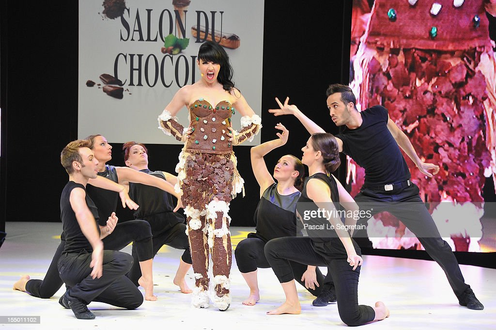 Tara McDonald performs on stage during the 18th Salon Du Chocolat at Parc des Expositions Porte de Versailles on October 30, 2012 in Paris, France.