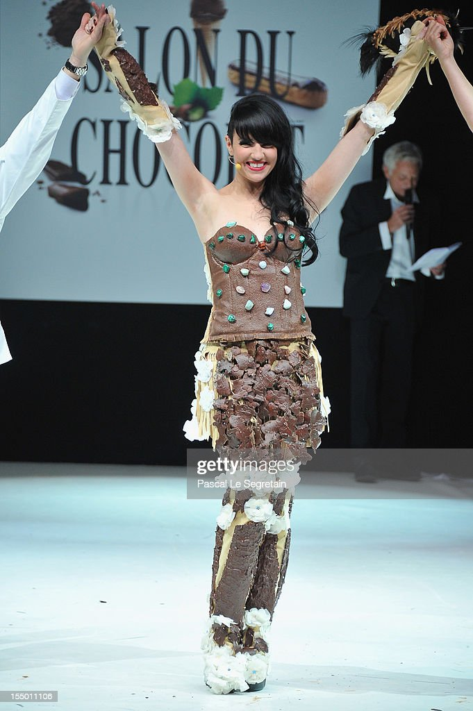 Tara McDonald walks down the runway during the 18th Salon Du Chocolat at Parc des Expositions Porte de Versailles on October 30, 2012 in Paris, France.