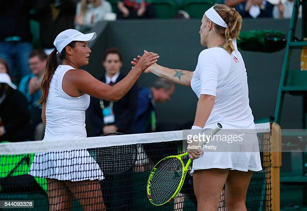 Tara moore of Great Britain and Svetlana Kuznetsova of Russia shake hands following the Ladies Singles second round match on day five of the...