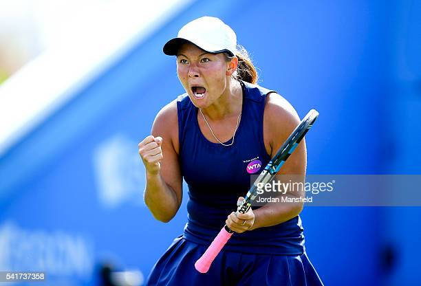 Tara Moore of Great Britain celebrates a point during her first round match against Ekaterina Makarova of Russia during day one of the Aegon...