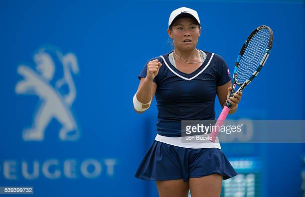 Tara Moore of Great Britain celebrates during her match against Saisai Zheng of China on day six of the WTA Aegon Open on June 11 2016 in Nottingham...