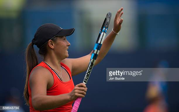 Tara Moore of Great Britain celebrates during her women's singles match against Donna Vekic of Croatia on day two of the WTA Aegon Open on June 7...