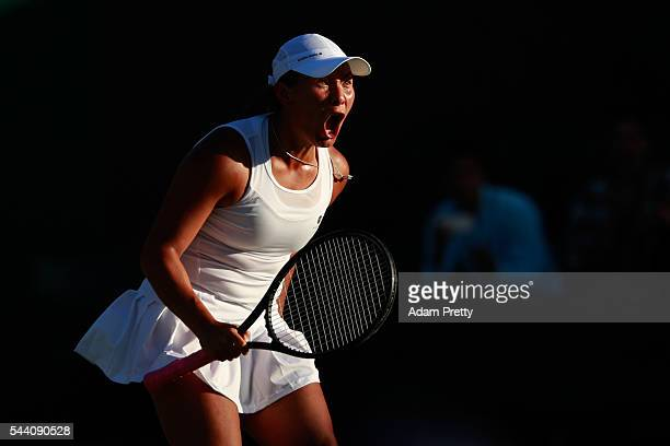 Tara Moore of Great Britain celebrates during the Ladies Singles second round match against Svetlana Kuznetsova of Russia on day five of the...