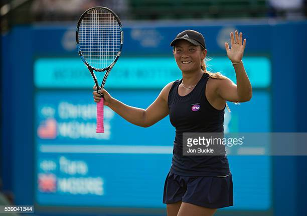 Tara Moore of Great Britain celebrates victory during her match against Christina McHale of USA on day four of the WTA Aegon Open on June 9 2016 in...