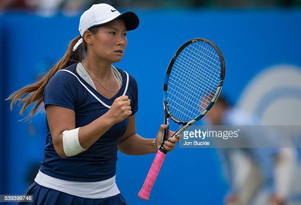 Tara Moore of Great Britain fights back during her match against Saisai Zheng of China on day six of the WTA Aegon Open on June 11 2016 in Nottingham...