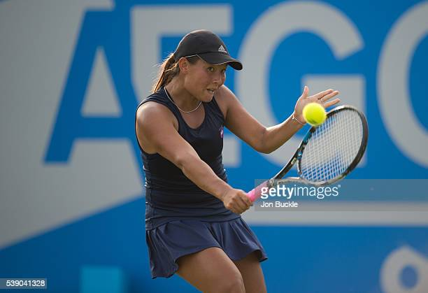 Tara Moore of Great Britain in action during her match against Christina McHale of USA on day four of the WTA Aegon Open on June 9 2016 in Nottingham...