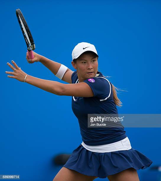 Tara Moore of Great Britain in action during her match against Saisai Zheng of China on day six of the WTA Aegon Open on June 11 2016 in Nottingham...
