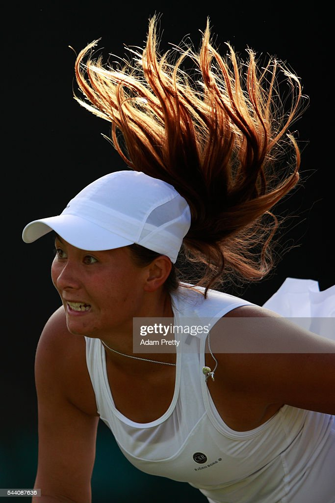 Tara moore of Great Britain looks on during the Ladies Singles second round match against Svetlana Kuznetsova of Russia on day five of the Wimbledon Lawn Tennis Championships at the All England Lawn Tennis and Croquet Club on July 1, 2016 in London, England.