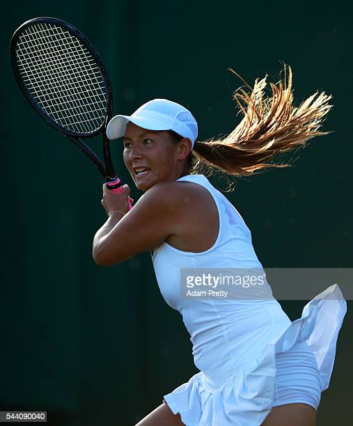Tara moore of Great Britain looks on during the Ladies Singles second round match against Svetlana Kuznetsova of Russia on day five of the Wimbledon...
