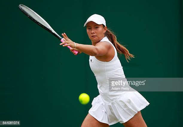 Tara moore of Great Britain plays a forehand during the Ladies Singles second round match against Svetlana Kuznetsova of Russia on day five of the...