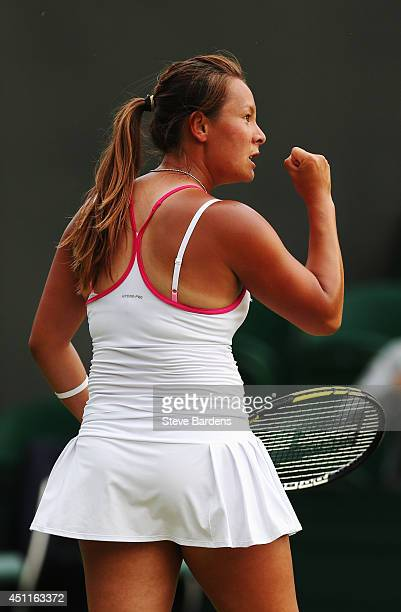 Tara Moore of Great Britain reacts during her Ladies' Singles first round match against Vera Zvonareva of Russia on day two of the Wimbledon Lawn...