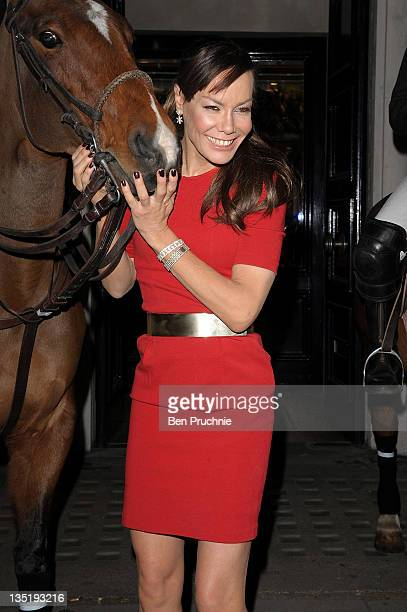 Tara Palmer Tomkinson appears in store to launch the Klosters Snow Polo tournament at Hackett London on December 7 2011 in London England