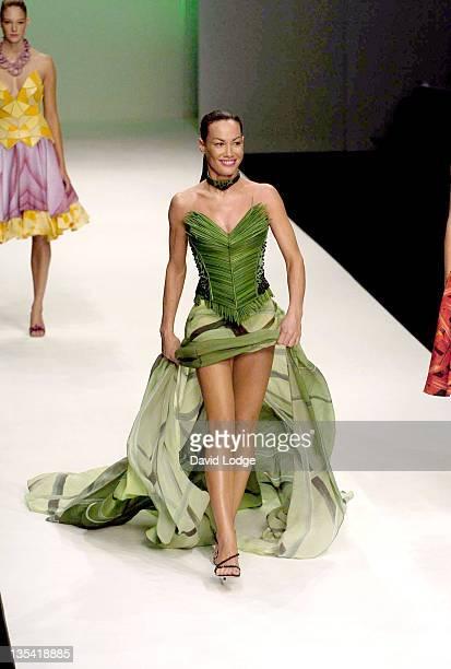 Tara Palmer Tomkinson wearing Tristan Webber during London Fashion Week Spring 2005 Tristan Webber Runway at BFC Tent in London Great Britain