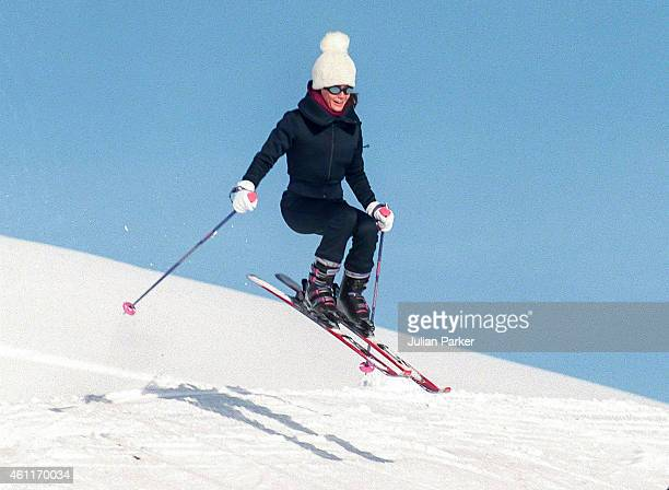 Tara Palmer Tompkinson on a Skiing holiday on January 5 1999 in Klosters Switzerland
