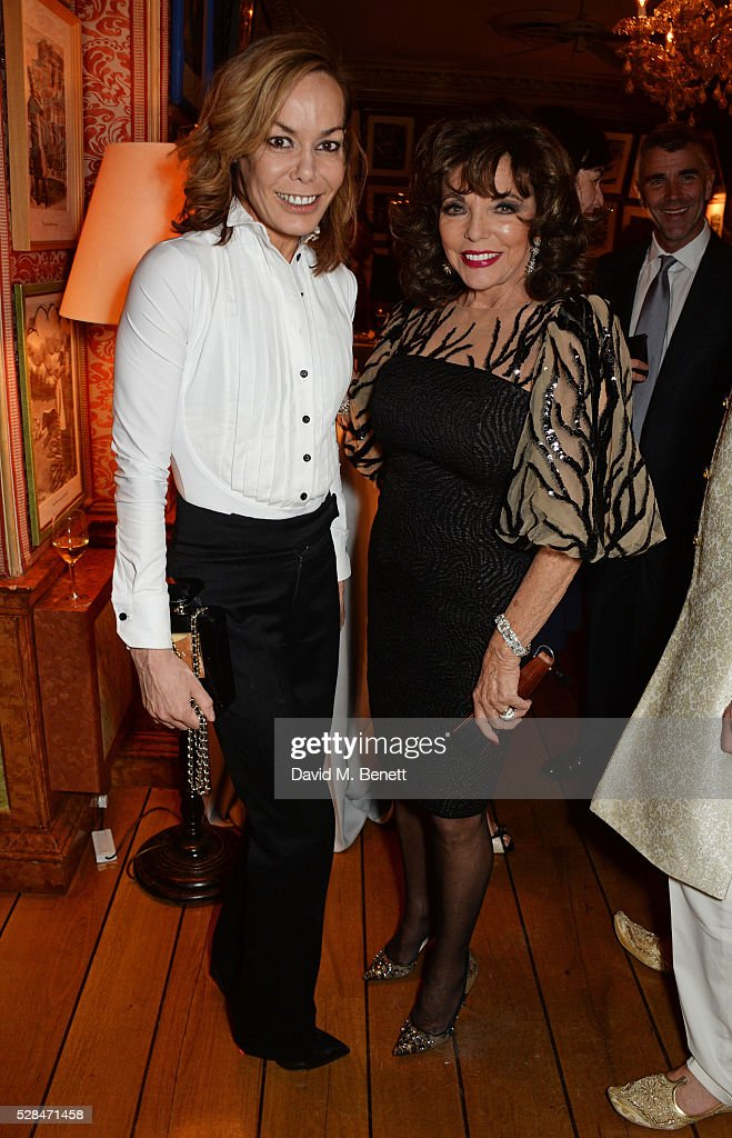 Tara Palmer-Tomkinson (L) and Dame Joan Collins attend the launch of Dame Joan Collins' new book 'The St. Tropez Lonely Hearts Club' at Harry's Bar on May 5, 2016 in London, England.