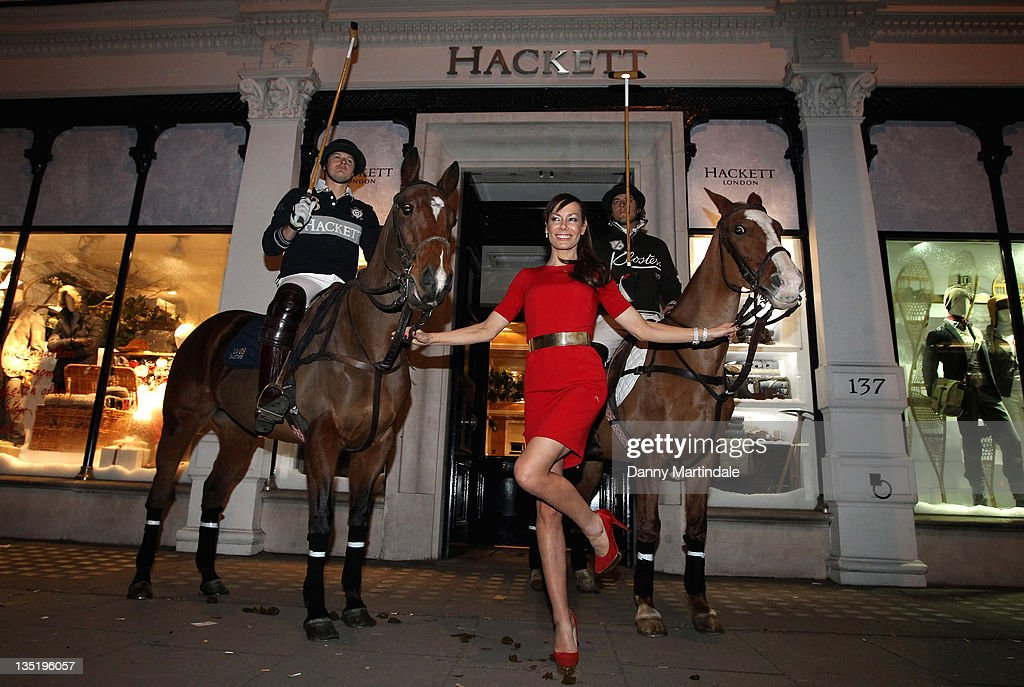 Tara Palmer-Tomkinson appears outside the store with two horses and riders to launch the Klosters Snow Polo tournament at Hackett London on December 7, 2011 in London, England.