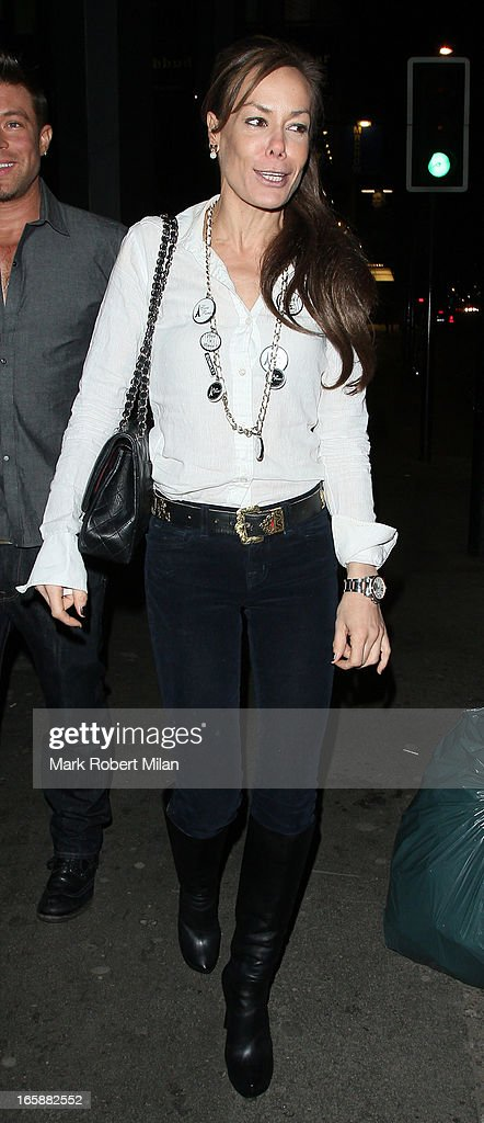 Tara Palmer-Tomkinson dines at Buddha Bar on April 6, 2013 in London, England.