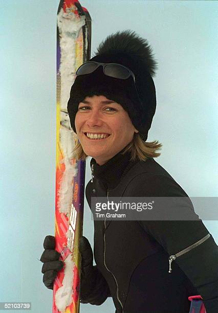Tara Palmertomkinson In Klosters Switzerland As Part Of Prince Charles' Skiing Party She Is Wearing A Black Ski Suit Designed By Sam De Teran On New...