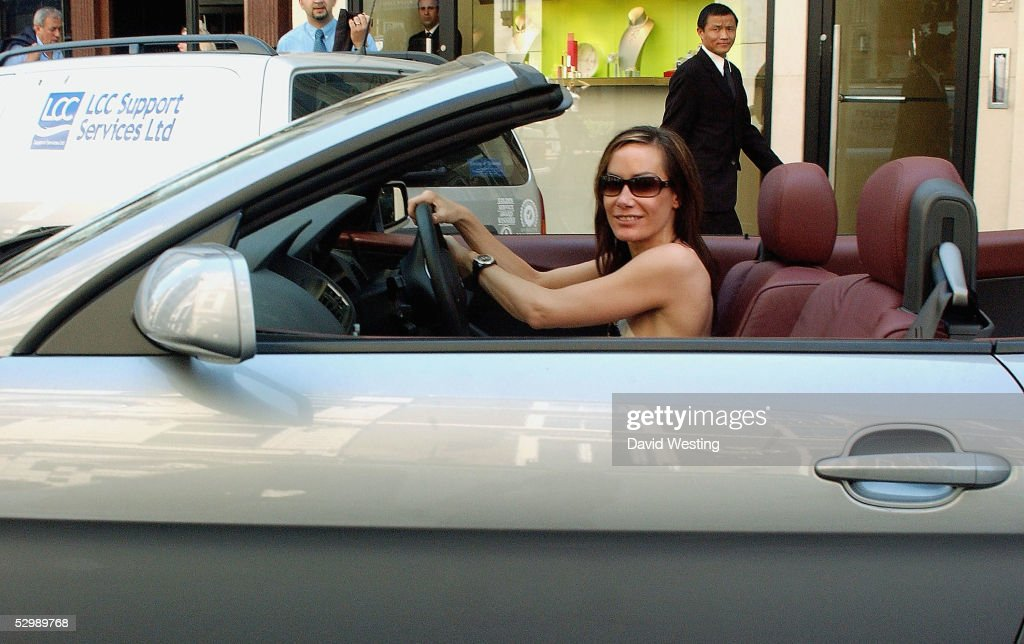 Tara Palmer-Tomkinson is pictured out shopping in her new sportscar on May 27, 2005 in London, England.