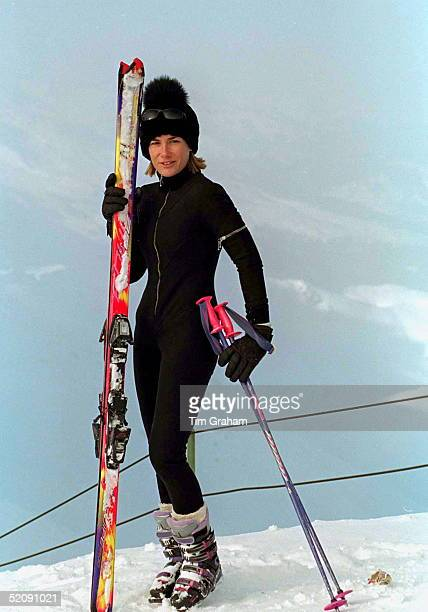 Tara Palmertomkinson Wearing A Figurehugging Skisuit Designed By Sam De Teran For Her Skiing Holiday In Klosters Switzerland On New Years Day 1st...