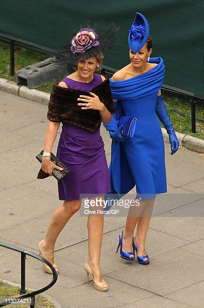Tara PalmerTompkinson and Santa Montefiore arrive for the Royal Wedding of Prince William to Catherine Middleton at Westminster Abbey on April 29...