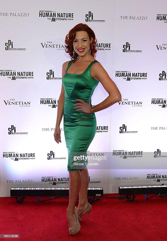 Tara Palsha arrives at 'Smokey Robinson Presents Human Nature: The Motown Show' opening at The Venetian Resort Hotel Casino on February 22, 2013 in Las Vegas, Nevada.