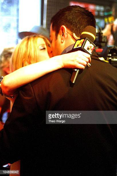 Tara Reid and Carson Daly during MTV New Year's Eve Bash 2001 at MTV Studios in Times Square in New York City New York United States