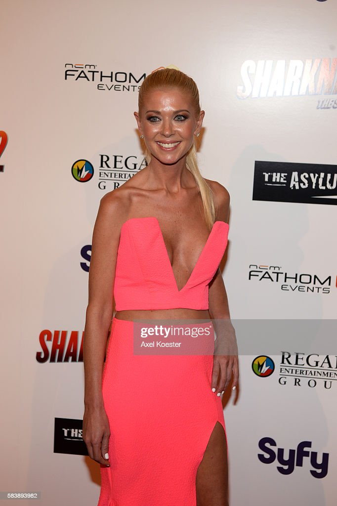 Tara Reid arrives to the premiere of Sharknado 2 The Second One held at the Regal Cinemas at LA Live Thursday evening