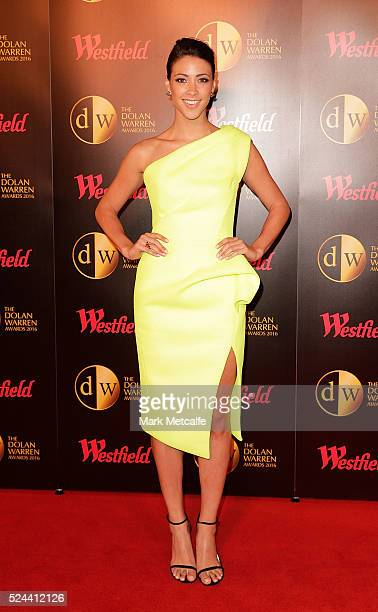 Tara Rushton arrives ahead of the 2016 FFA Dolan Warren Awards at Carriageworks on April 26 2016 in Sydney Australia