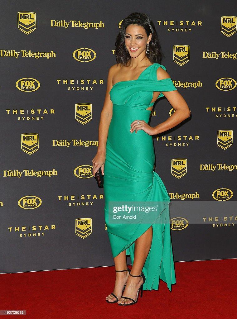 Tara Rushton arrives at the 20145 Dally M Awards at Star City on September 28, 2015 in Sydney, Australia.