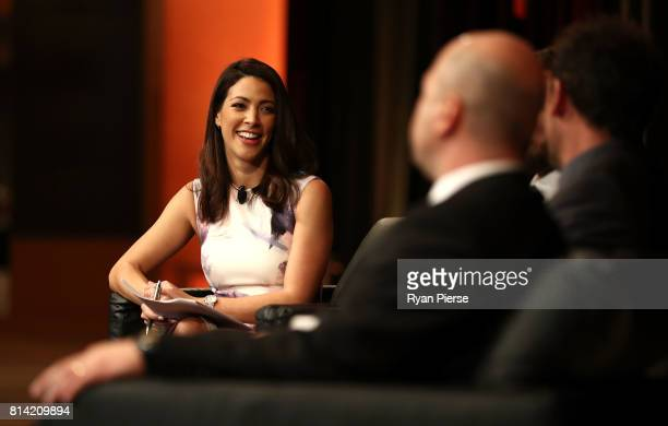 Tara Rushton interviews guests during the Western Sydney Wanderers Gold Star Luncheon at The Westin on July 14 2017 in Sydney Australia