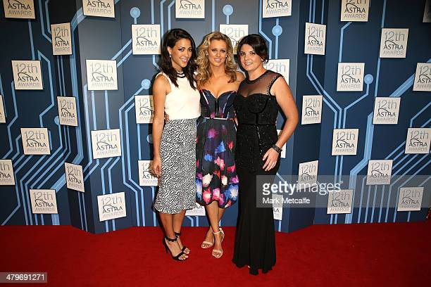 Tara Rushton Megan Barnard and Kei Underwood arrive at the 12th ASTRA Awards at Carriageworks on March 20 2014 in Sydney Australia
