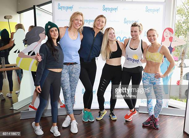 Tara Sowlaty Supergoop founder Holly Thaggard Supergoop coowner Maria Sharapova Jordan Younger Jacey Duprie and Simone De La Rue attend the Supergoop...