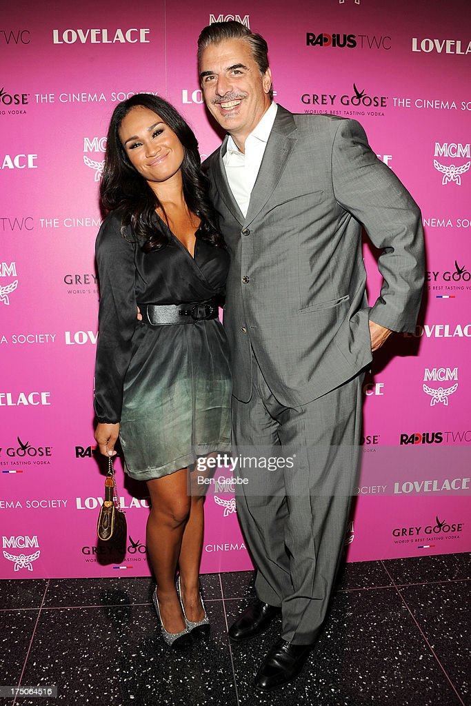Tara Wilson (L) and actor Chris Noth attend The Cinema Society and MCM with Grey Goose host a screening of Radius TWC's 'Lovelace' at The Museum of Modern Art on July 30, 2013 in New York City.